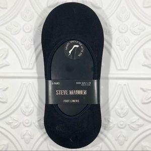 6pr Steve Madden Legwear No Show Foot Liners